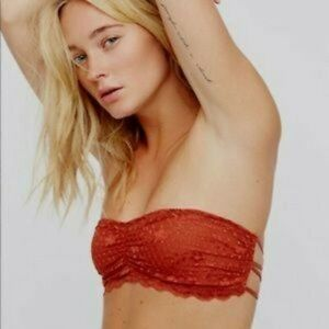 NWT Free People Lace Bandeau Bra Terracotta XS